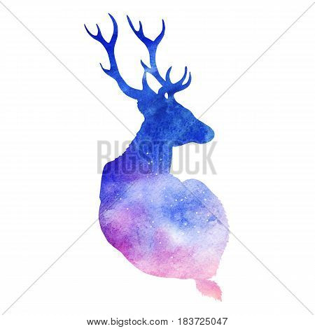 Silhouette black and white monochrome deer with horns wood animal isolated