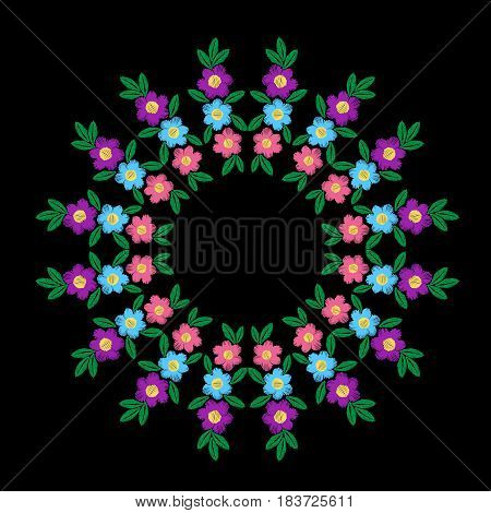 Embroidery stitches imitation round frame with colorful flower and leaf. Vector folk embroidery pattern on the black background for printing on fabric napkin and other decoration.