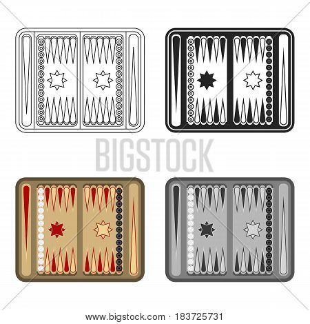 Backgammon icon in cartoon style isolated on white background. Board games symbol vector illustration.