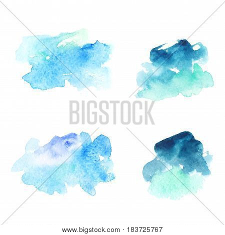 Set of abstract blue watercolor stains backgrounds traced vector illustration