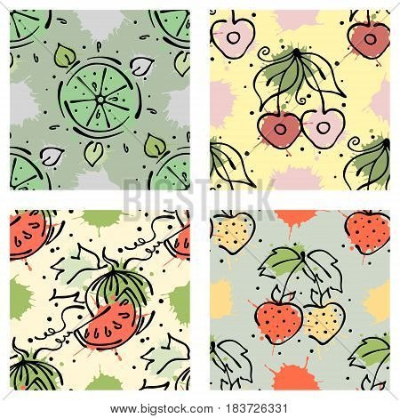 Vector Fruits Seamless Pattern. Watermelon, Cherry, Strawberry, Berry With Leaves, Blots, Drops, Spl