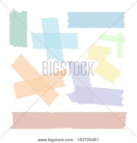 Scotch adhesive tape pieces set isolated. Vector