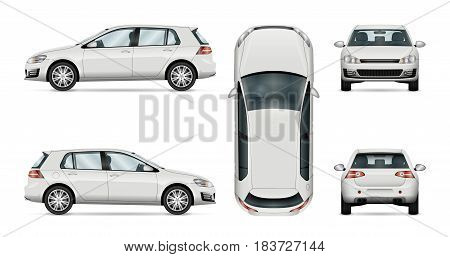Car vector template on white background. Hatchback isolated. All layers and groups well organized for easy editing and recolor. View from side front back top.