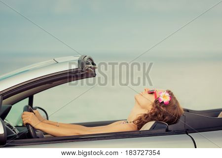 Happy Woman Travel By Car