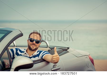 Happy Man Travel By Car