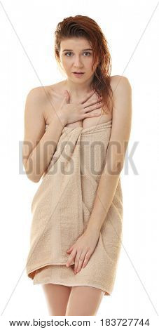 Beautiful young woman after shower on white background