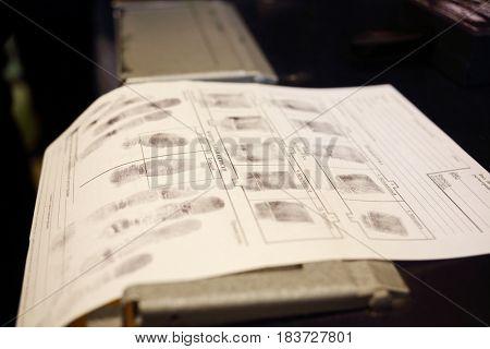 Fingerprints on paper, text translate - dactyloscopic registration, pinky, Control prints, big, nameless, registration