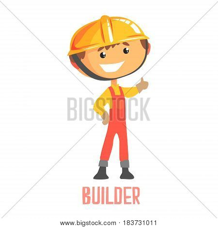 Builder, construction worker repairman. Colorful cartoon character vector Illustration isolated on a white background