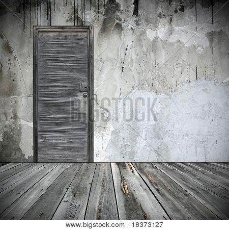 grunge interior with door