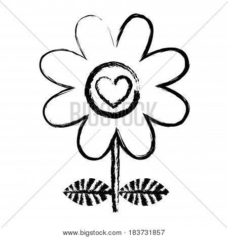 monochrome blurred silhouette of daisy flower with emblem of heart with stem and leaves vector illustration