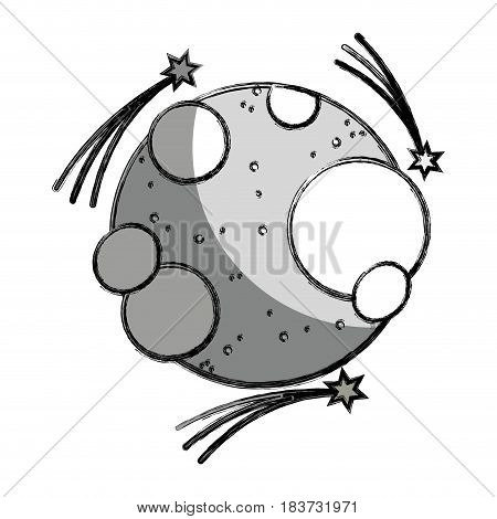 grayscale moon in the nebulae space with astral stars, vector illustration