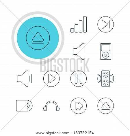 Vector Illustration Of 12 Melody Icons. Editable Pack Of Speaker, Rewind, Subsequent And Other Elements.