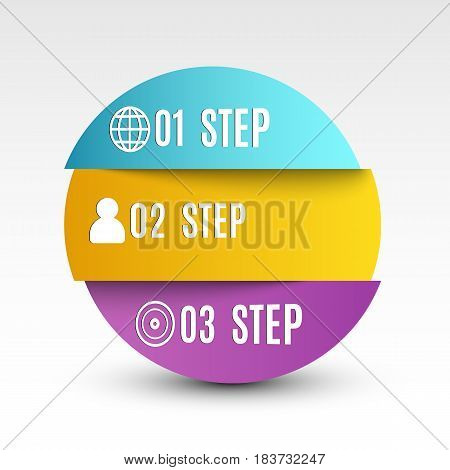 Infographics. Volumetric paper strips in the form of a circle. The falling shadow. Paper strips. Business illustration for projects. Steps to success Icons for the web. EPS 10