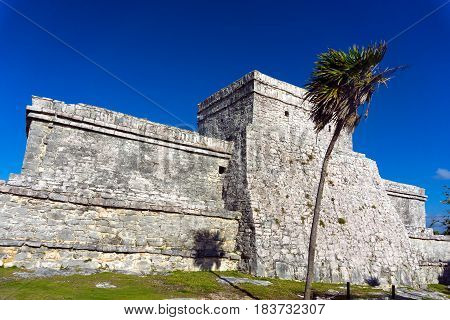 Mayan architecture in the ruins of Tulum Mexico
