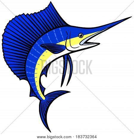 A vector illustration of a jumping Sailfish.