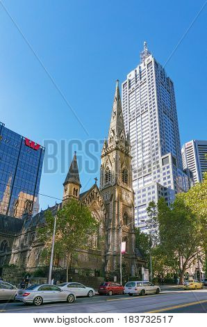 Scots Church And Westpac Bank Building On Collins Street In Melbourne