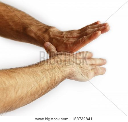Hands of a man. Isolated on white