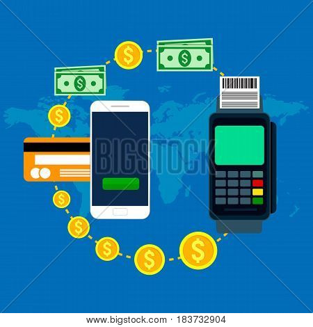 Mobile and online payment concept. Vector illustration. Flat modern design