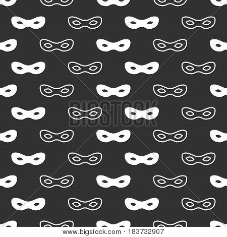 Seamless pattern with mask. Black and white carnival simple design. Superhero mask. Traditional venetian festive carnival icon. Masquerade. Vector illustration. Background. Texture. Symbols