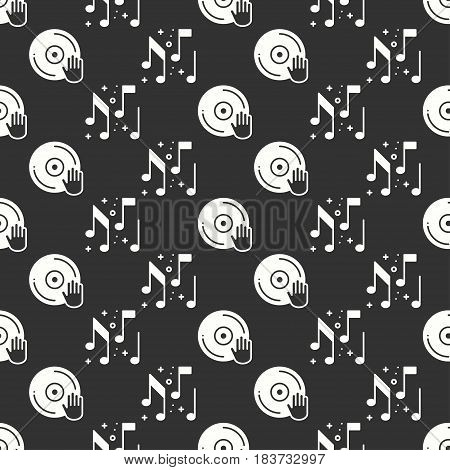 Vinyl record disco dance nightlife seamless pattern. DJ disk jockey turntable icon. Party celebration decor elements. Vector illustration. Background. Black and white graphic texture