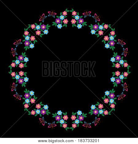 Embroidery stitches imitation round frame with butterfly and colorful flower with leaf. Vector folk embroidery pattern on the black background for printing on fabric napkin and other decoration.