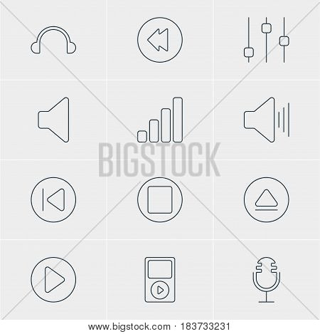 Vector Illustration Of 12 Melody Icons. Editable Pack Of Preceding, Reversing, Rewind And Other Elements.