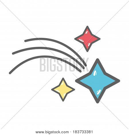 shooting star with stars in the space universe galaxy, vector illustration