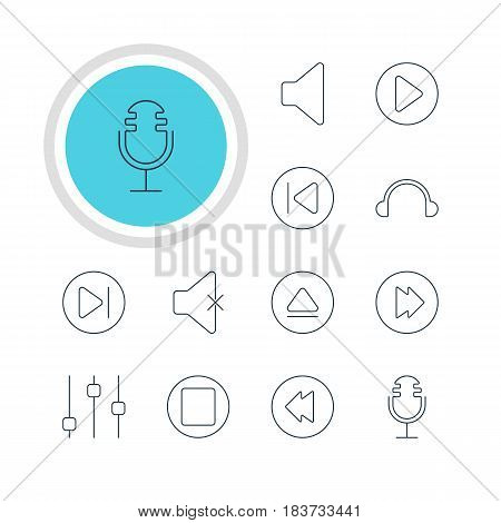 Vector Illustration Of 12 Music Icons. Editable Pack Of Stabilizer, Rewind, Reversing And Other Elements.