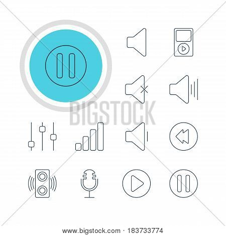 Vector Illustration Of 12 Melody Icons. Editable Pack Of Mp3, Stabilizer, Mike And Other Elements.