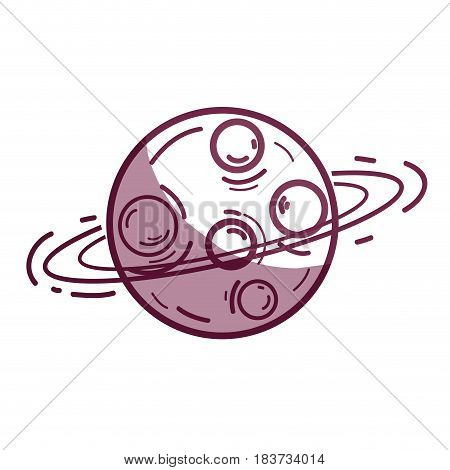 silhouette exploration uranus planet in the galaxy space, vector illustration