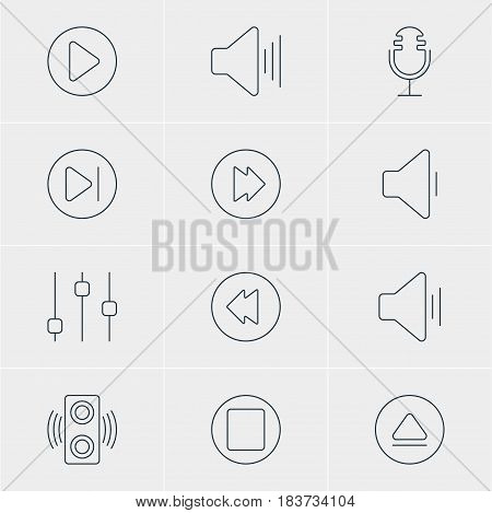 Vector Illustration Of 12 Melody Icons. Editable Pack Of Subsequent, Audio, Volume Up And Other Elements.