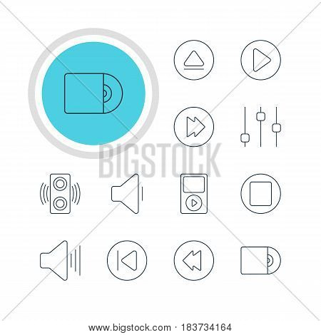 Vector Illustration Of 12 Music Icons. Editable Pack Of Preceding, Rewind, Mp3 And Other Elements.