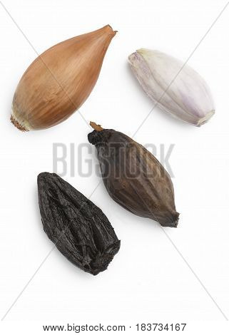 Organic black onions arrangement showing original and fermented on an isolated white background overhead shot, room for copy space