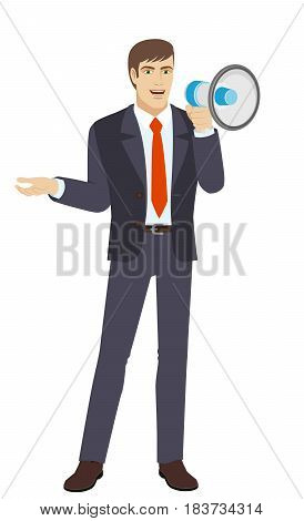 Businessman with loudspeaker gesturing. Full length portrait of businessman character in a flat style. Vector illustration.