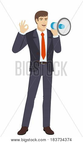 Businessman with loudspeaker showing a okay hand sign. Full length portrait of businessman character in a flat style. Vector illustration.