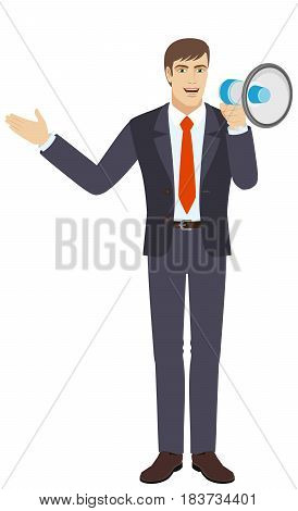 Businessman with loudspeaker showing something beside of him. Full length portrait of businessman character in a flat style. Vector illustration.