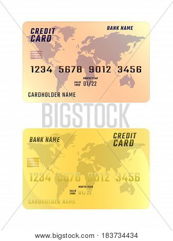 Credit card on white background in two variations. The vertical location.