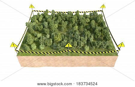part of land with forest isolated on white. 3d rendering