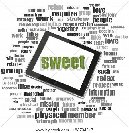 Text Sweet. Social Concept . Tablet Pc. Word Cloud Collage