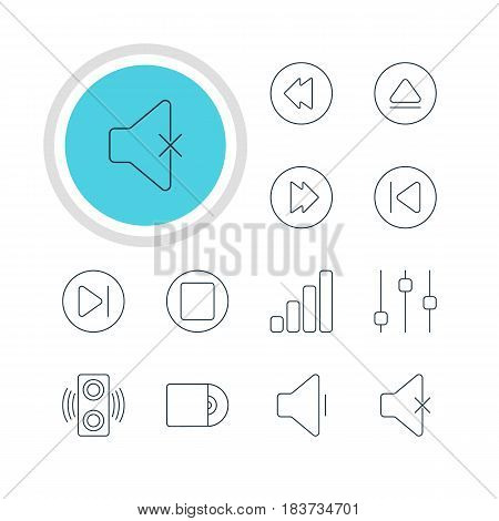 Vector Illustration Of 12 Melody Icons. Editable Pack Of Decrease Sound, Pause, Amplifier And Other Elements.
