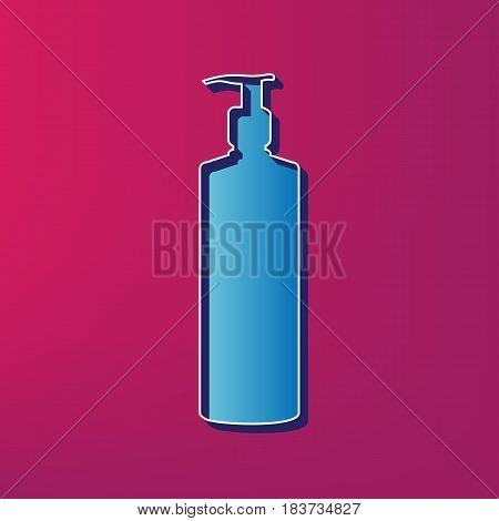 Gel, Foam Or Liquid Soap. Dispenser Pump Plastic Bottle silhouette. Vector. Blue 3d printed icon on magenta background.