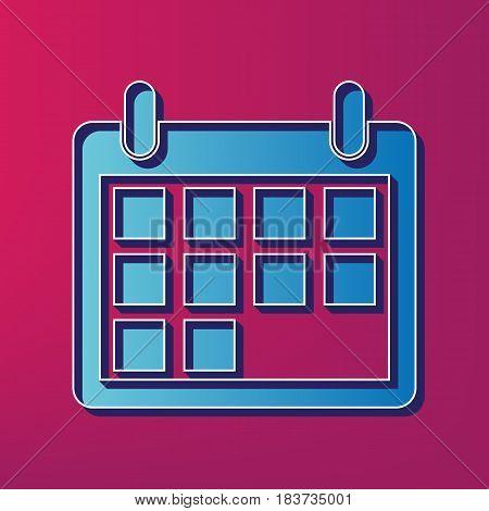 Calendar sign illustration. Vector. Blue 3d printed icon on magenta background.