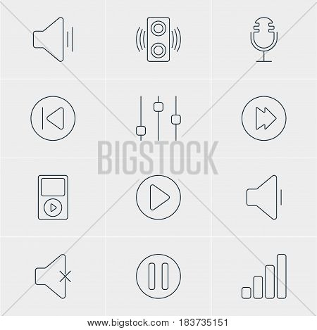 Vector Illustration Of 12 Music Icons. Editable Pack Of Mike, Stabilizer, Advanced And Other Elements.