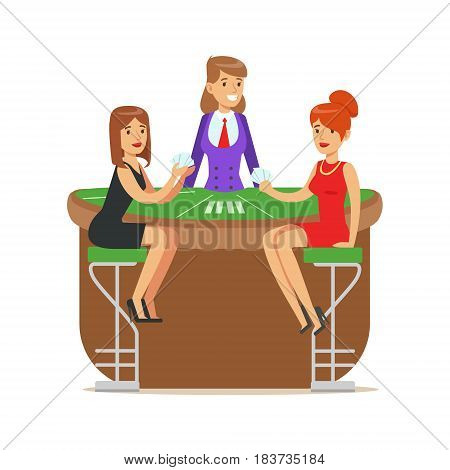 Two beatuful girls playing cards in a luxury casino. Croupier girl behind gambling table in a casino. Colorful cartoon character vector Illustration isolated on a white background