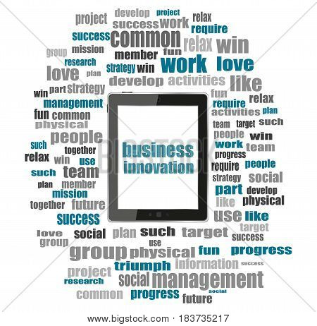 Business Innovation Text. Business Concept . Tablet Pc With Word Cloud Collage