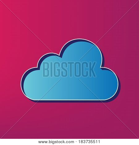 Cloud sign illustration. Vector. Blue 3d printed icon on magenta background.