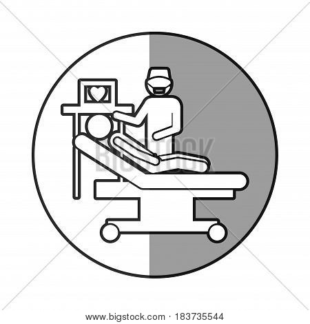 circular frame shading with pictogram person with cardiologist vector illustration