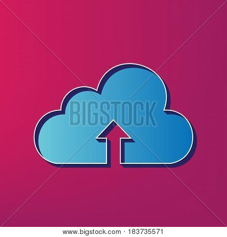 Cloud technology sign. Vector. Blue 3d printed icon on magenta background.