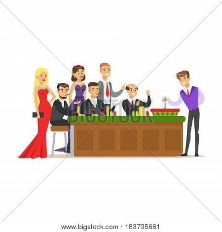 People placing bets on roulette table in casino. Group of people gambling at roulette table in casino. Colorful cartoon character vector Illustration isolated on a white background