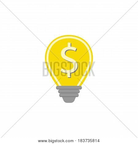 Business idea flat icon, finance and business, lightbulb with dollar sign vector graphics, a colorful solid pattern on a white background, eps 10.